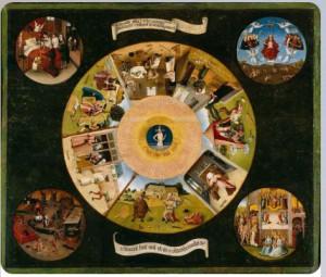 """7 смертных грехов и 4 последние вещи"""" 1480-е, приписывают Босх."""