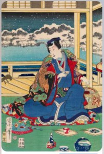 Toyohara Kunichika1867 Гэндзи смотрит на снег с балкона