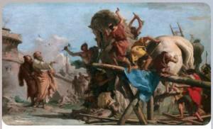 Джованни Доменико Тьеполо - Постройка Троянского коня ок1760